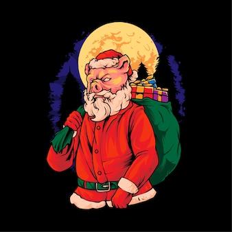 Piggy santa claus illustratie premium vector