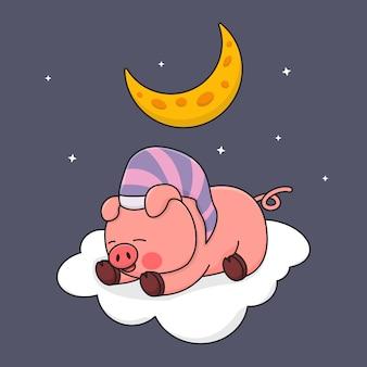 Piggy slapen op de wolk