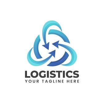 Pijl afgerond op cirkel. blauwe abstracte moderne vorm kan gebruiken voor het logo-illustratie van het logistiekbedrijf