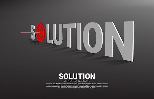 Pijl boogschieten in het midden van het doel in de formulering van de oplossing. bedrijfsconcept van marketing doel en klant. bedrijf visie missie.