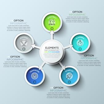 Pijl cirkel infographics met vijf opties