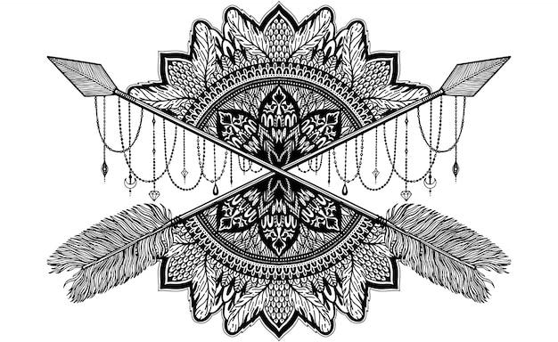 Pijl die amulet in mandalastijl kruist