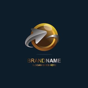 Pijl en optisch logo-ontwerp