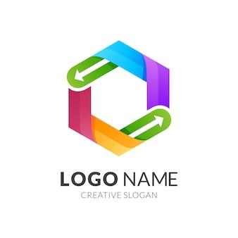 Pijl en zeshoek logo sjabloon, moderne logostijl in levendige kleuren met kleurovergang