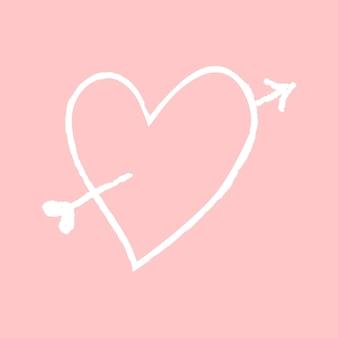 Pijl hart element vector in doodle stijl