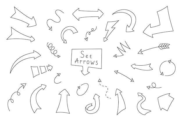Pijl in cartoon-stijl. verzamelpijlen met de hand getekend voor decoratieve planner, dagboek en notitieboekje