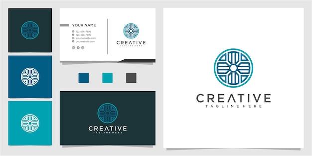 Pijl in cirkel logo ontwerp inspiratie met visitekaartje