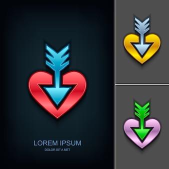 Pijl in het hart logo ontwerpsjabloon