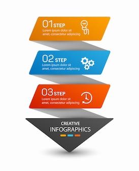 Pijl infographic concept sjabloon met 3 opties Premium Vector