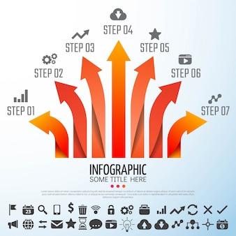 Pijl infographics ontwerp sjabloon