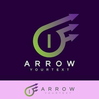 Pijl initiaal letter i logo ontwerp