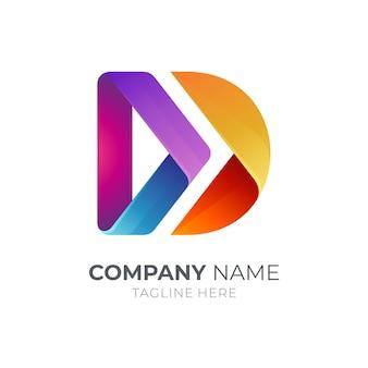 Pijl letter d 3d logo ontwerpsjabloon