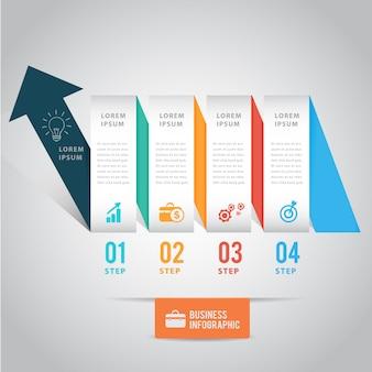 Pijl lint infographic sjabloon