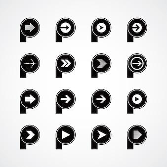 Pijl media spelen pictogram thema logo vector kunst illustratie
