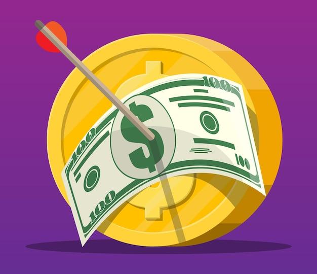 Pijl met dollarbankbiljet in muntstukdoel