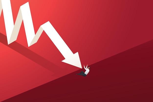 Pijl naar beneden grafiek duwen een zakenman van een klif concept van economische crisis en financiële