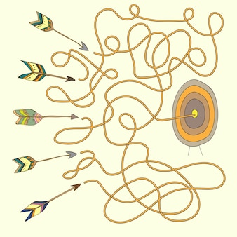 Pijl op doel doolhof - labyrint voor kinderen