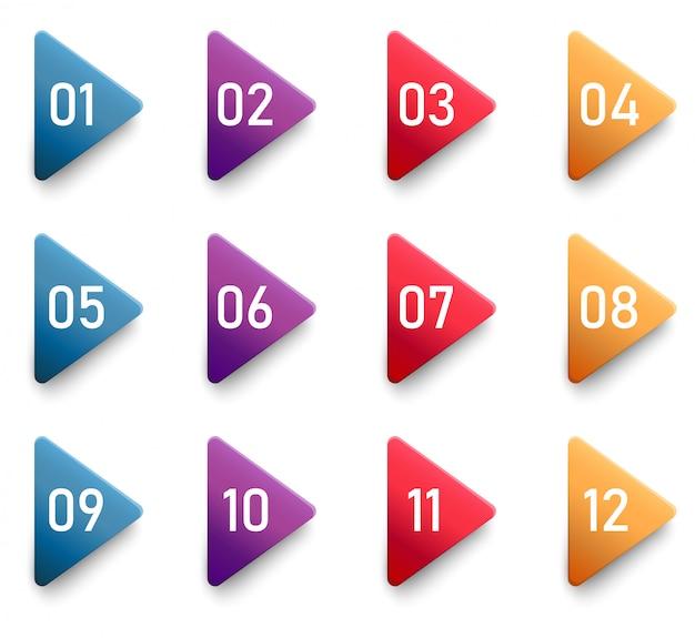 Pijl opsommingsteken driehoek vlaggen met kleurrijke verloop.