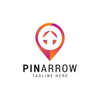 Pijl pin logo ontwerpsjabloon
