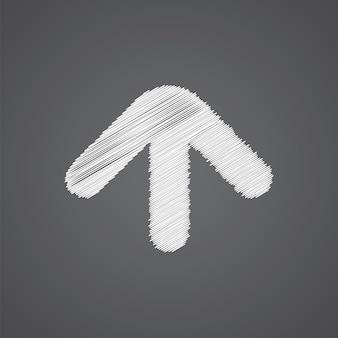Pijl schets logo doodle pictogram geïsoleerd op donkere achtergrond