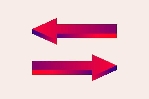 Pijl sticker, tweerichtingsverkeer weg richting teken in rode gradiënt ontwerp vector