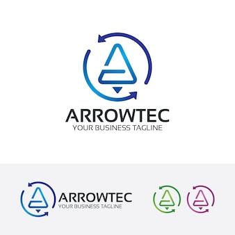 Pijl technologie vector logo sjabloon