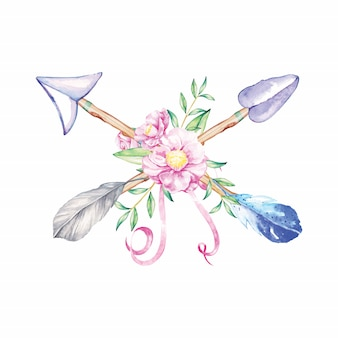 Pijlen boho aquarel illustratie