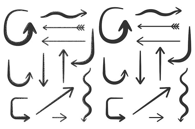 Pijlen doodle elementen set geïsoleerd op een witte achtergrond.