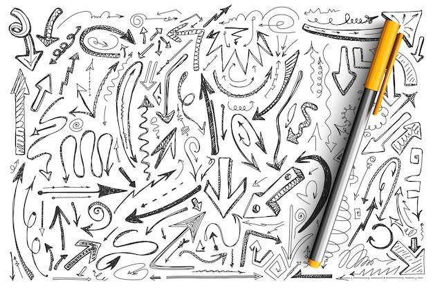 Pijlen doodle set. verzameling van verschillende vorm ronde gedraaide handgetekende pijlpunt computercursors