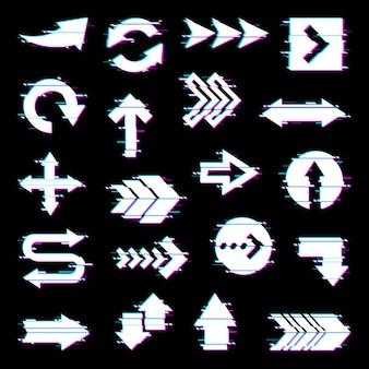 Pijlen en aanwijzers ingesteld met glitch-effect op het scherm.