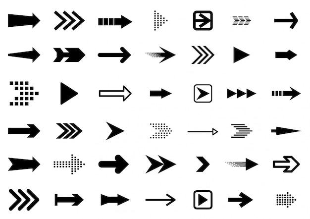Pijlen grote zwarte set pictogrammen. pijlpictogram. arrow collectie