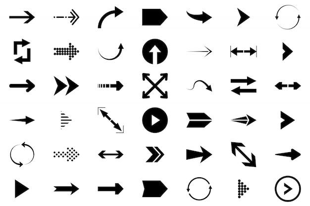 Pijlen grote zwarte set pictogrammen. pijlpictogram.