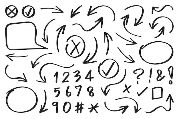 Pijlen handgetekende ontwerp