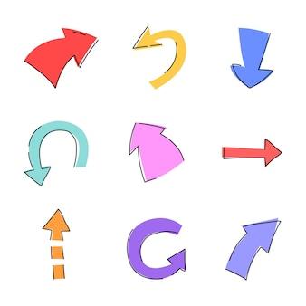 Pijlen handgetekende stijl in verschillende kleuren