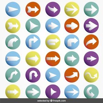Pijlen kleurrijke pictogrammen