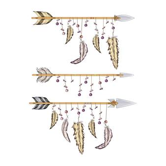 Pijlen met veren van indianen verzamelen voor jacht en oorlog