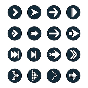 Pijlen platte vector iconen set