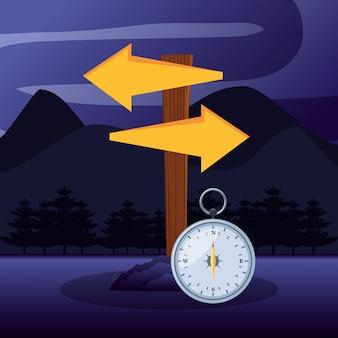 Pijlen richtingen en kompas in camping zone
