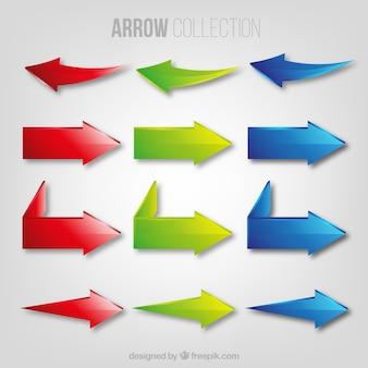 Pijlen van de drie kleuren collectie