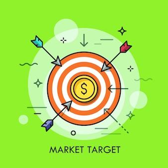 Pijlen vliegen naar schietdoel met dollarmuntstuk in het midden.