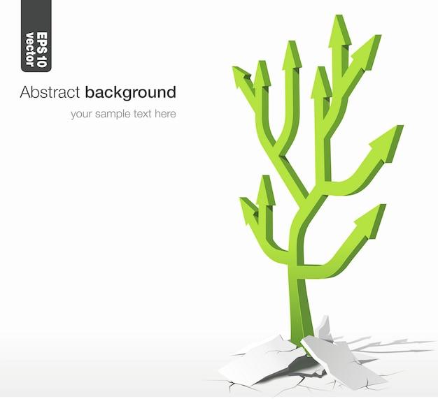 Pijlenboom - het groeiconcept. illustratie op witte achtergrond.