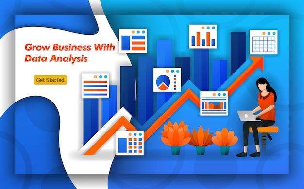 Pijlenontwerp van een groeiend bedrijf met gegevensanalyse