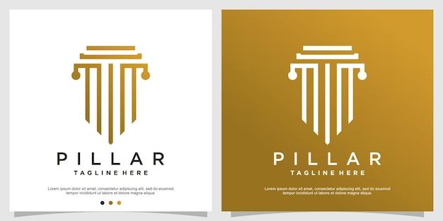 Pijler logo concept met minimalistische moderne stijl premium vector