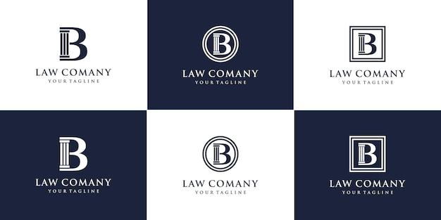 Pijler met letter b logo ontwerpsjabloon