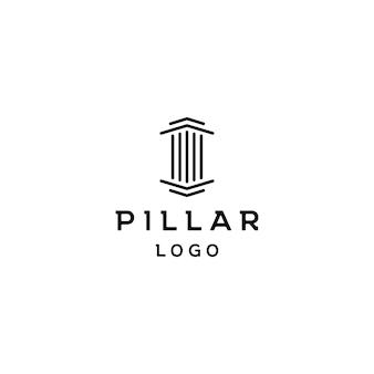 Pijler pictogram ontwerp. creatieve pijler logo ontwerp vector gerelateerd aan advocaat, advocatenkantoor, advocaten, gebouw, architect of universiteit
