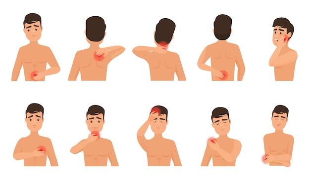 Pijn in het menselijk lichaam. man voelt pijn infographic set.