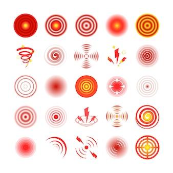 Pijn rode cirkels instellen afbeelding