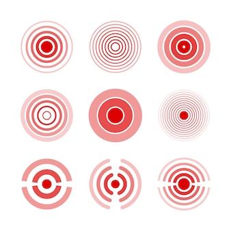 Pijn rode ringen om pijnlijke lichaamsdelen van vrouw en man, nek, botten, spieren en hoofdpijn te markeren