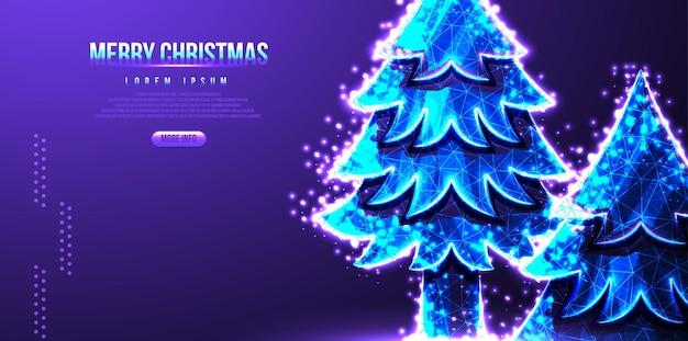 Pijnbomen, vrolijke kerstbestemmingspagina, laag poly draadframe, vectorillustratie