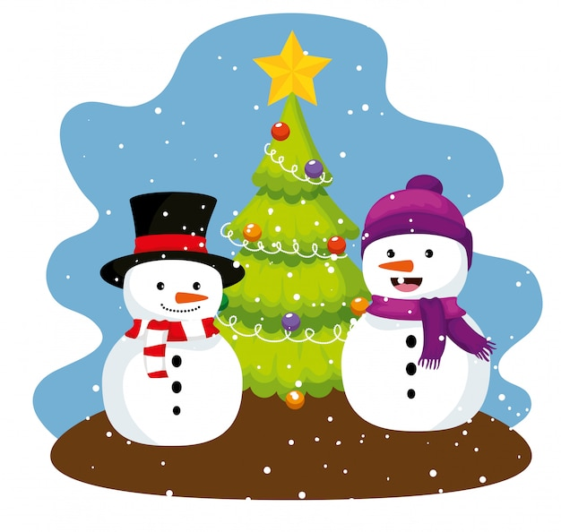 Pijnboom en sneeuwmannen met hoed en sjaal